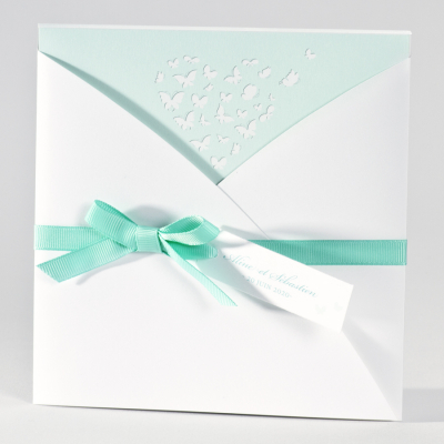 Stijlvolle trouwkaart met vlinders - munt (106.073)