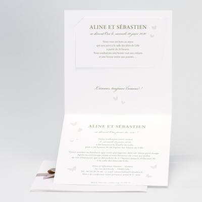 Stijlvolle trouwkaart met vlinders - roze (106.074)