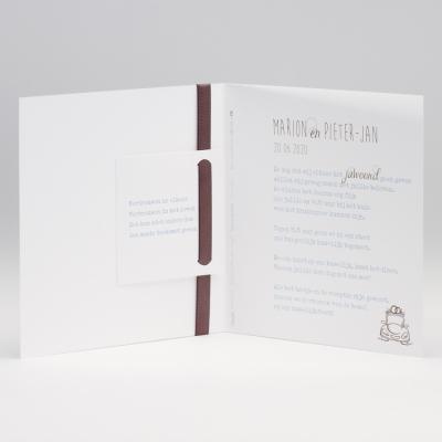 Vierkante blanco kaart met bruin luxelint met strik (106.081)