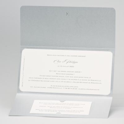 Zilverkleurige pochettekaart met blinkend hartje (106.114)
