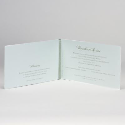 Langwerpige witte trouwkaart met gelaserd kantmotief NL - groen (108.088)