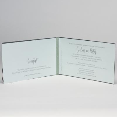 Staalgrijze trouwkaart met gelaserd kantmotief NL - munt (108.105)