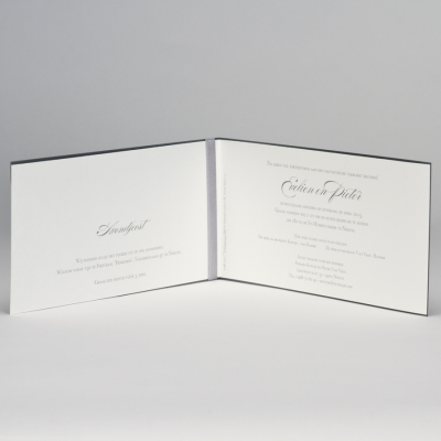 Staalgrijze trouwkaart met gelaserd kantmotief NL (108.111)