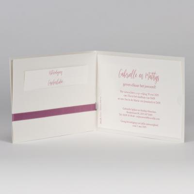 Stijlvolle pochette met oudroze lint (108.118)