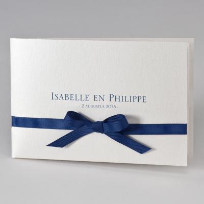 Stijlvolle pochette met donkerblauw lint (108.119)
