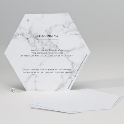 Trendy huwelijkskaart in marmerlook met munt (108.120)