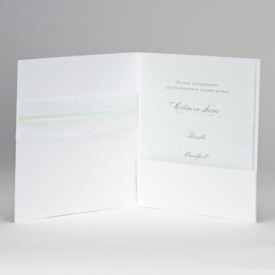 Vierkante huwelijksaankondiging met kanten lint JA WIJ TROUWEN - munt (108.186)