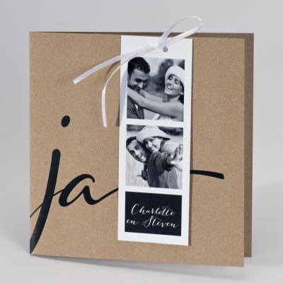 Eco huwelijksuitnodiging JA met fotostrip (108.906)