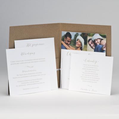 Huwelijksaankondiging eco met witte blaadjes WIJ TROUWEN (108.908)