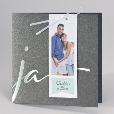 Staalgrijze huwelijksaankondiging JA met fotostrip (108.914)