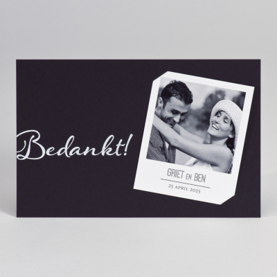Zwarte dankkaart met polaroid - Bedankt (128.904)