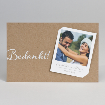 Eco dankkaart met polaroid en witte opdruk - Bedankt (128.908)
