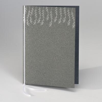 Staalgrijs kaftje voor misboekje met zilveren blaadjes (148.916)