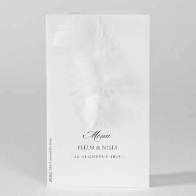 Witte menukaart met pluim (208.062)