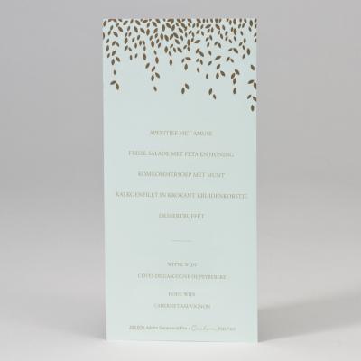 Enkele menukaart in munt met blaadjes in goudfolie  (208.070)