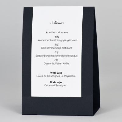 Menu staander zwart met witte folie (208.904)