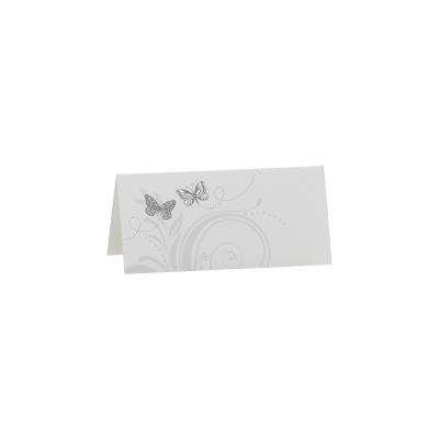 Blanco tafelkaartje met 2 grijze vlinders  (221.008)