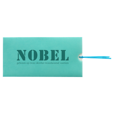 Turquoise smalle kalkpochette met witte kaart (313.011)
