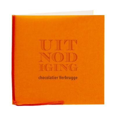 Grote vierkante kaart met oranje kalk en lint (313.025)
