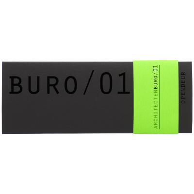 Zwarte drieluik kaart met fluo groen bandje (313.073)