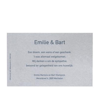 Zilverkleurig uitnodigings- of bedankingskaartje (381.051)