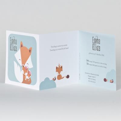 Drieluik geboortekaartje met vosjes (505.005)