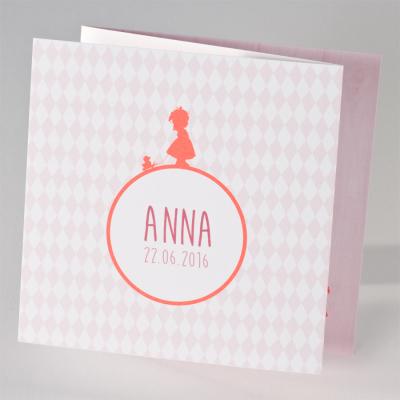 Hip geboortekaartje meisje met eendje en roze ruitjes (505.007)