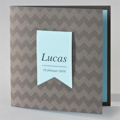 Bruin zigzagkaartje met blauwe tag (505.031)