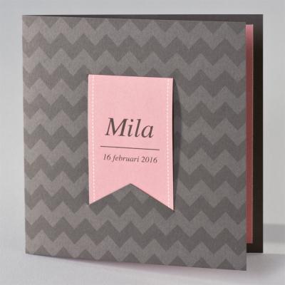 Bruine zigzagkaart met roze tag (505.032)