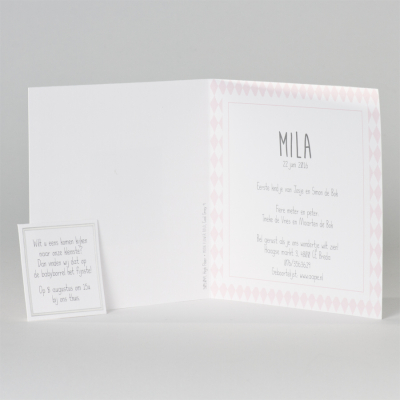 Geboortekaartje met roze ruitjes (505.049)