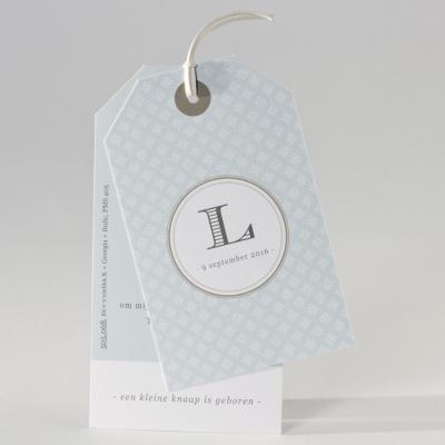 Grijsgroen label met bloemmotief (505.068)