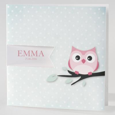 Groen geboortekaartje met roze uil (505.070)