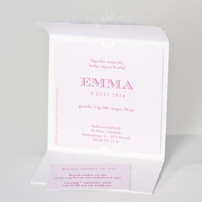 Witte pochettekaart met pluimpje (505.075)