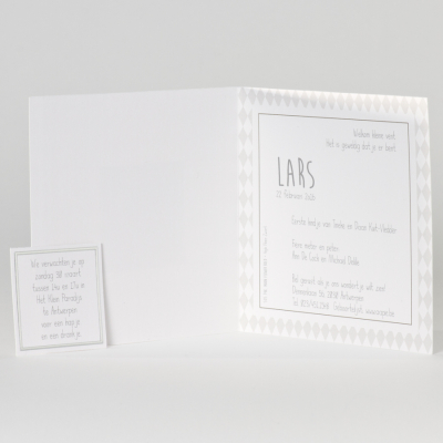 Geboortekaartje met grijze ruitjes (505.148)