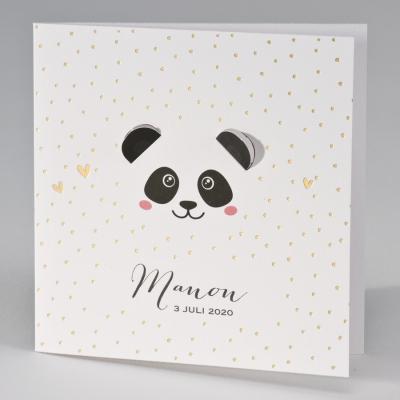 Lief geboortekaartje panda met uitgekapte oortjes (507.009)