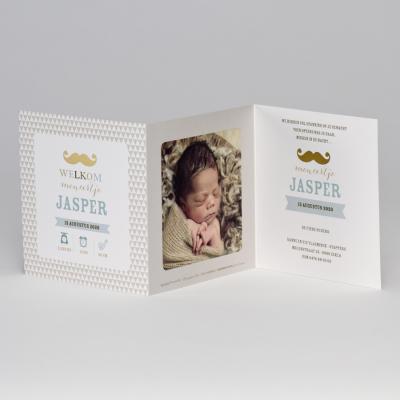 Drieluikfotokaart met snor in goudfolie en bruine driehoekjes (507.022)