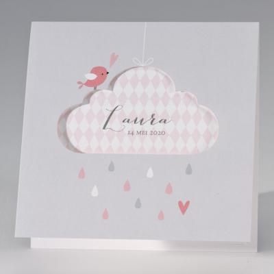Lichtgrijze geboortekaart met roze accenten (507.025)