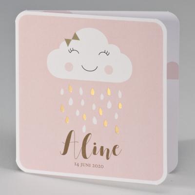 Vrolijke wolkje met gouden regendruppels - pink (507.027)