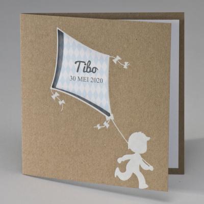Eco geboortekaart jongen met blauwe vlieger (507.038)