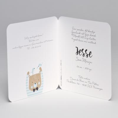 Eco geboortekaart beer met blauw gestreepte trui (507.071)
