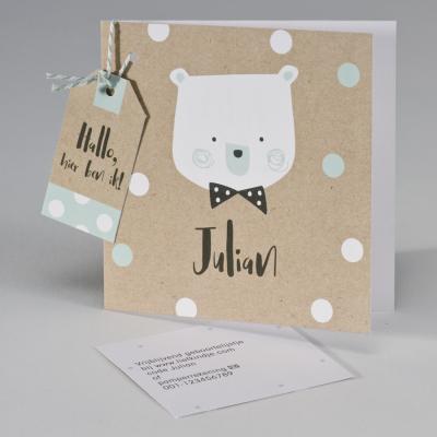 Ecokaart met beer en confetti wit/munt (507.093)