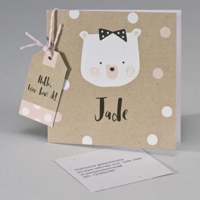 Ecokaart met beer en confetti wit/roze (507.094)