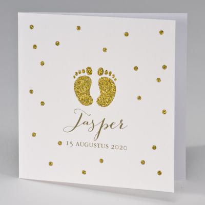 Geboortekaart met gouden glittervoetjes (507.112)