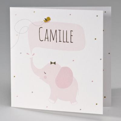 Vierkante geboortekaart met roze olifantje (507.133)