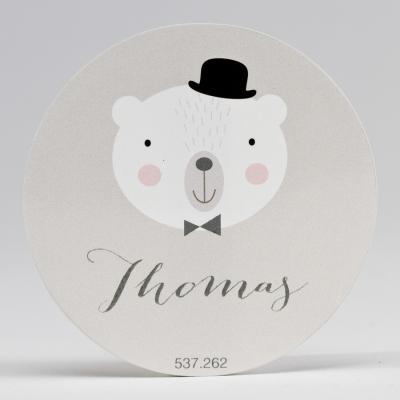 Grote ronde sticker beer met bolhoed (537.262)