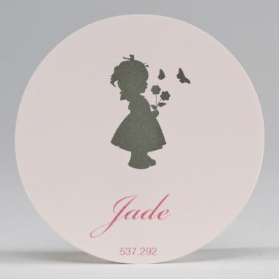 Grote ronde sticker silhouet meisje roze (537.292)