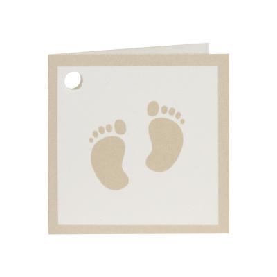 Dubbel naamkaartje bruine voetjes en bruine rand (538.034)