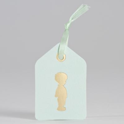 Tag mint met silhouet jongen in goudfolie (556.012)