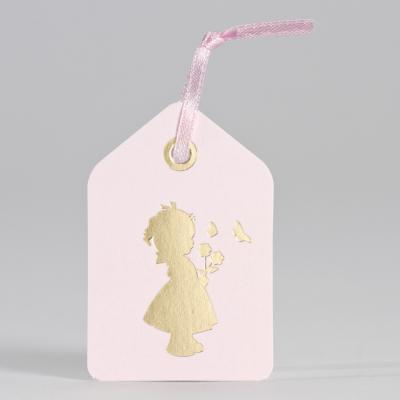 Tag roze met silhouet meisje in goudfolie (556.013)