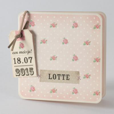 Roze bloemetjeskaart met witte stipjes (584.023)